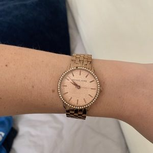 Michael Kors watch w/ pave face & rose gold tones
